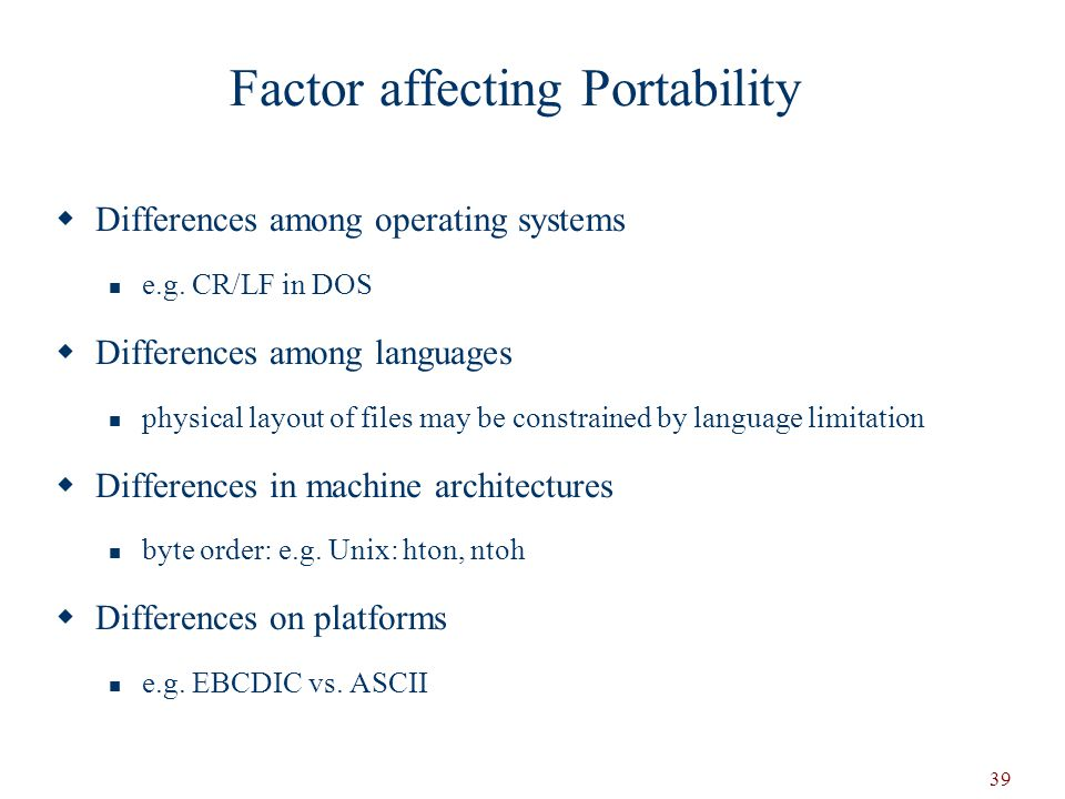 Factor affecting Portability