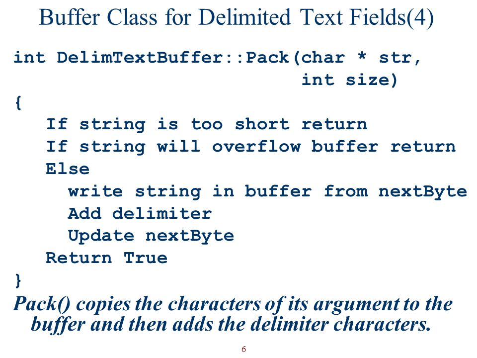 Buffer Class for Delimited Text Fields(4)
