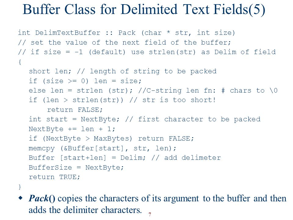Buffer Class for Delimited Text Fields(5)