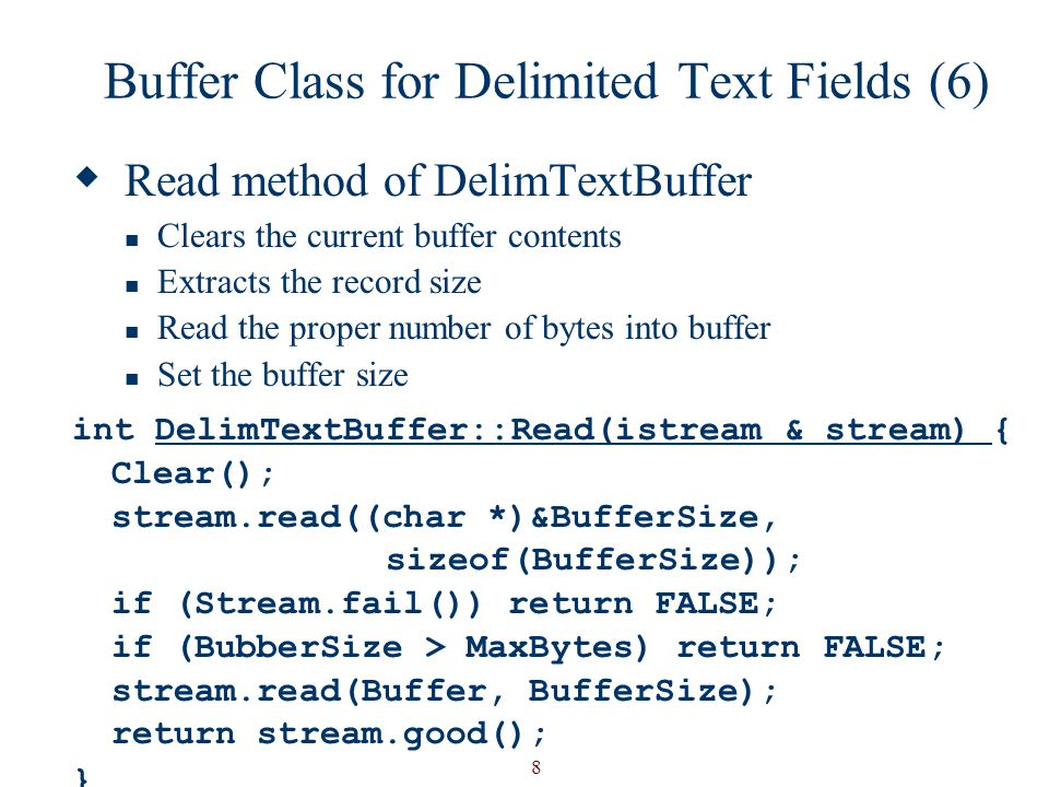 Buffer Class for Delimited Text Fields (6)
