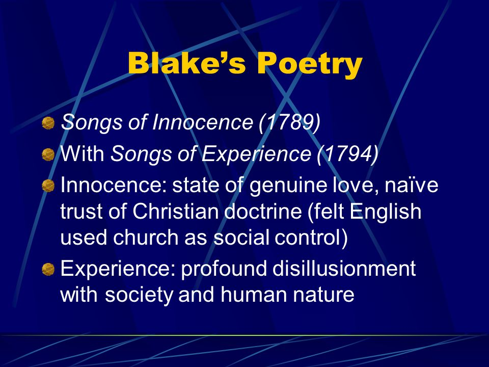 Blake's Poetry Songs of Innocence (1789)