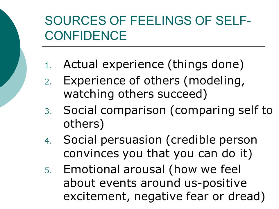SOURCES OF FEELINGS OF SELF-CONFIDENCE