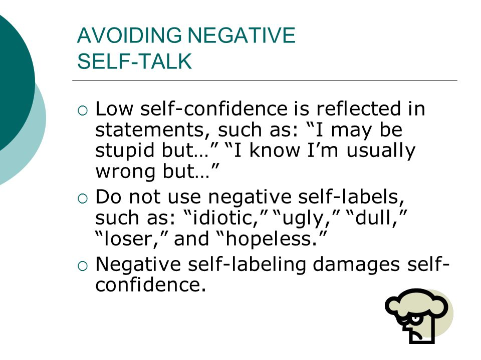 AVOIDING NEGATIVE SELF-TALK
