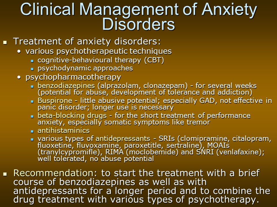 Clinical Management of Anxiety Disorders