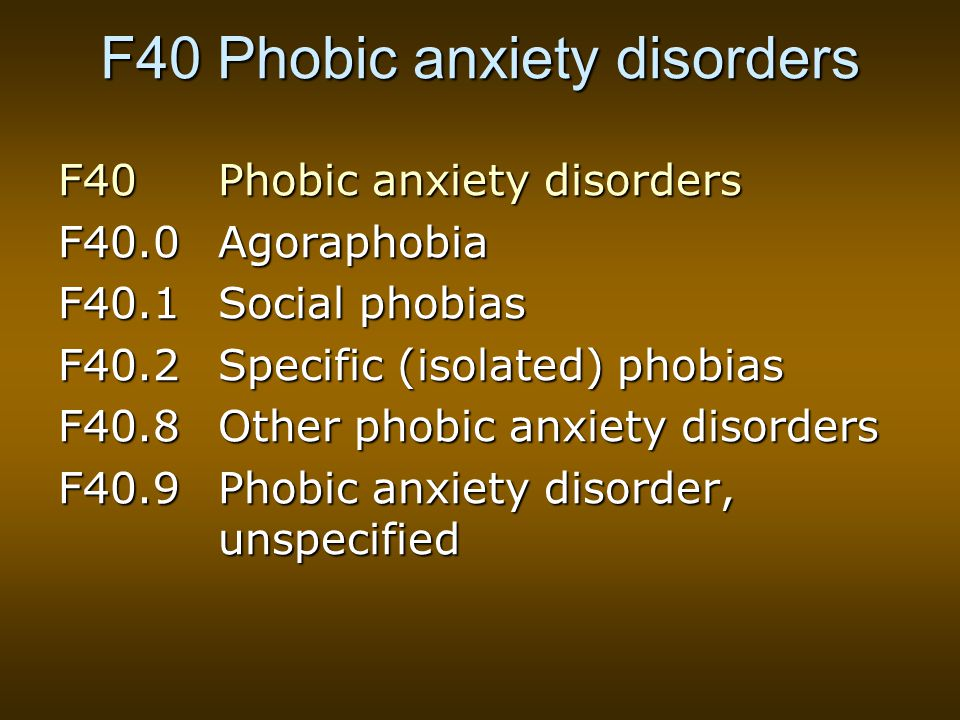 F40 Phobic anxiety disorders