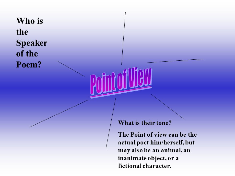 Point of View Who is the Speaker of the Poem What is their tone