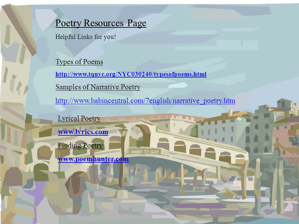 Poetry Resources Page Types of Poems Samples of Narrative Poetry