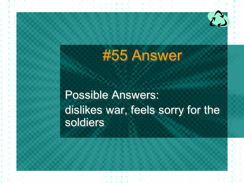 Possible Answers: dislikes war, feels sorry for the soldiers