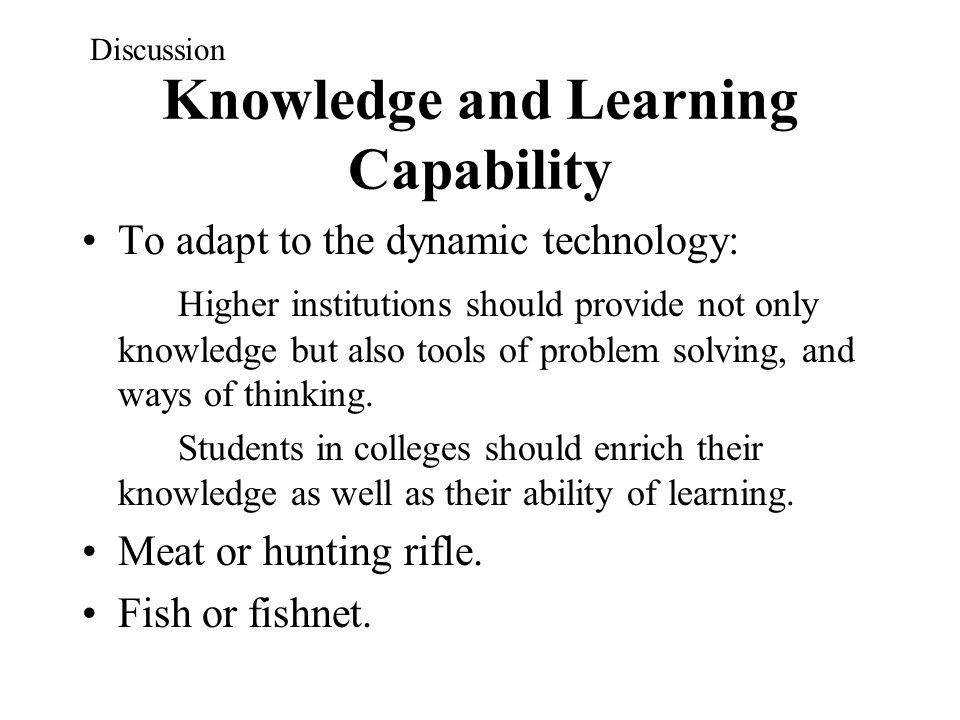 Knowledge and Learning Capability