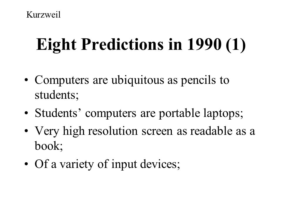 Eight Predictions in 1990 (1)
