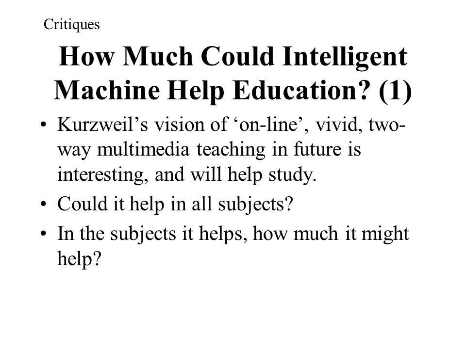 How Much Could Intelligent Machine Help Education (1)