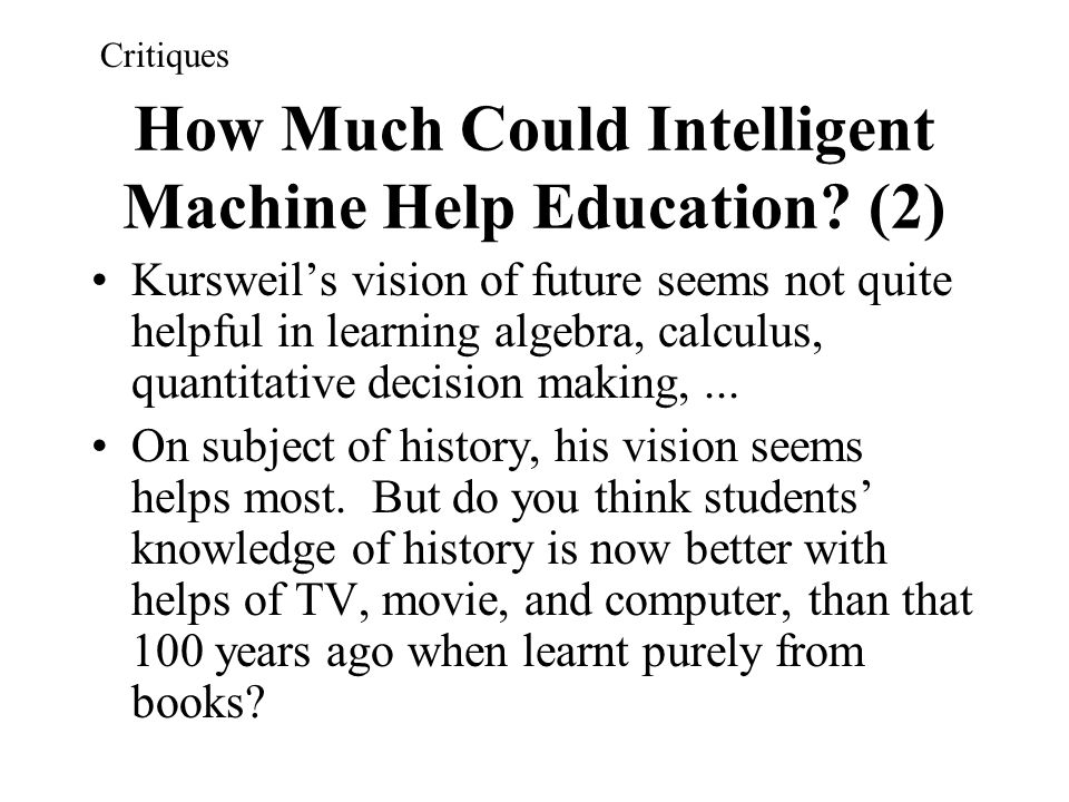 How Much Could Intelligent Machine Help Education (2)