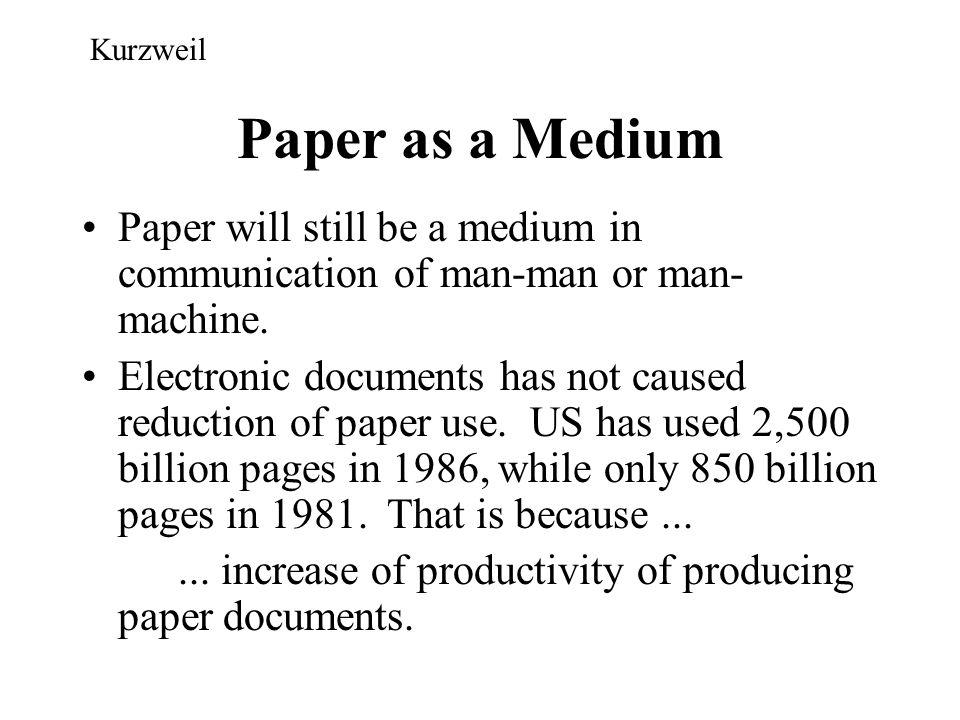 Kurzweil Paper as a Medium. Paper will still be a medium in communication of man-man or man-machine.