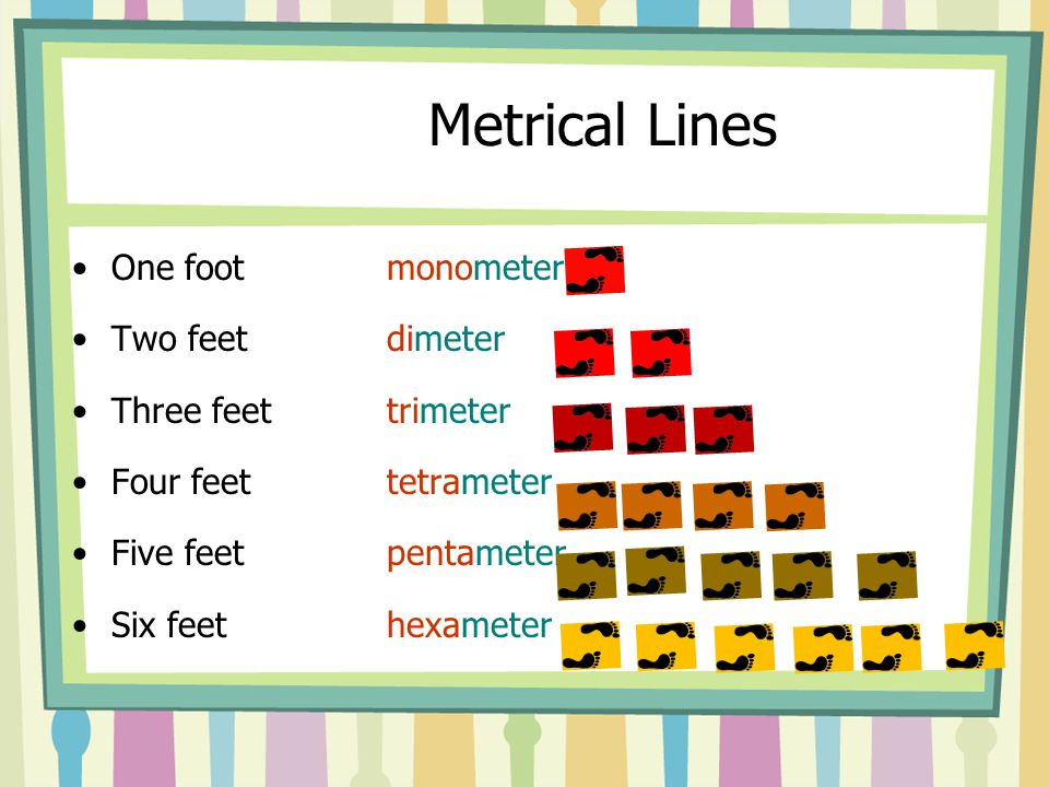 Metrical Lines One foot monometer Two feet dimeter Three feet trimeter