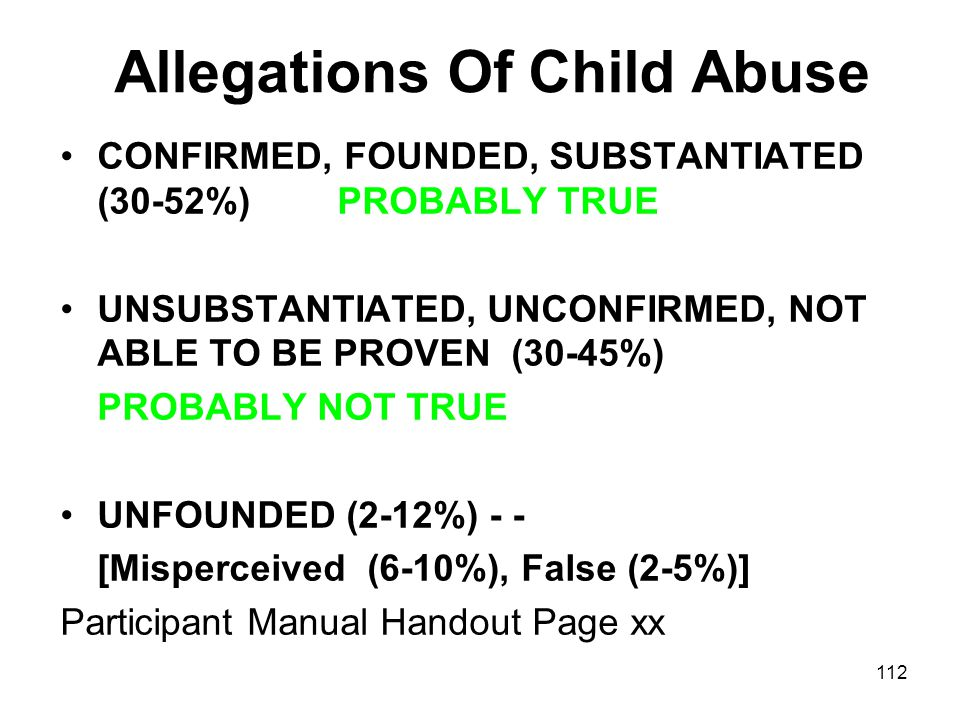 Allegations Of Child Abuse