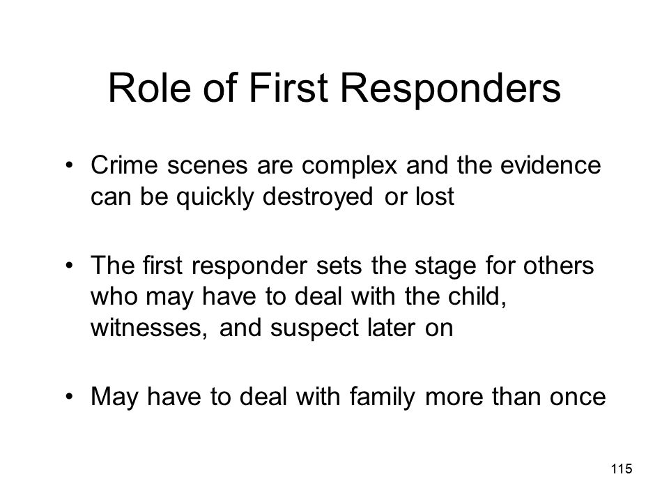 Role of First Responders