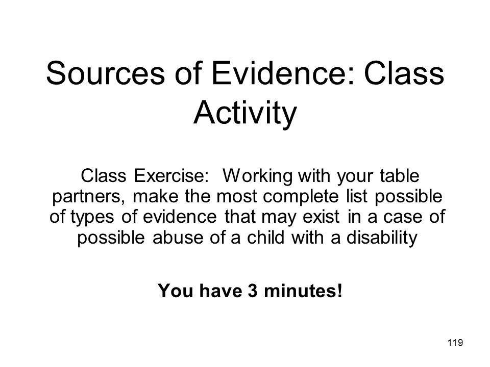 Sources of Evidence: Class Activity