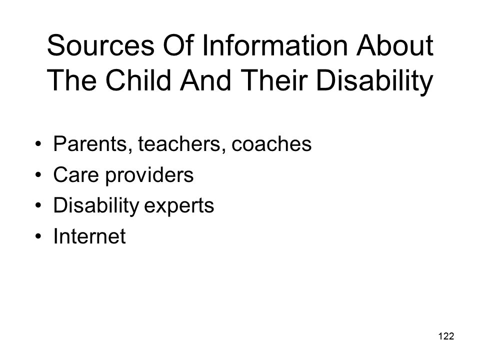 Sources Of Information About The Child And Their Disability