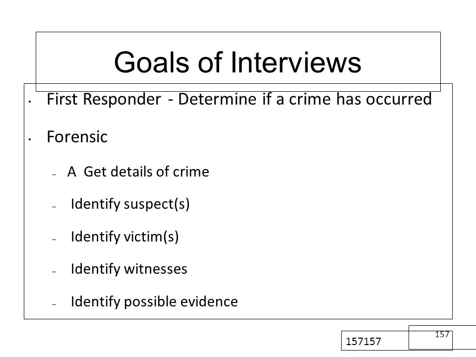 157157157157157157 Goals of Interviews. First Responder - Determine if a crime has occurred. Forensic.