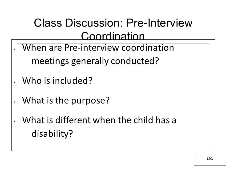 Class Discussion: Pre-Interview Coordination