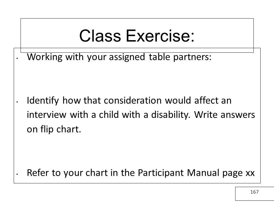 Class Exercise: Working with your assigned table partners: