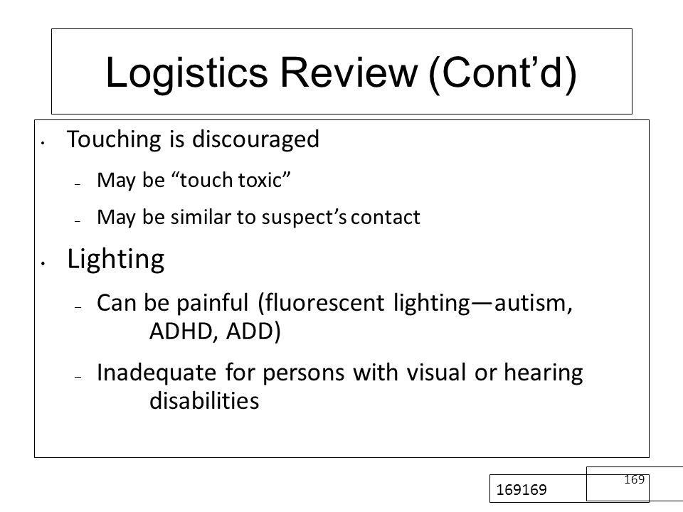 Logistics Review (Cont'd)