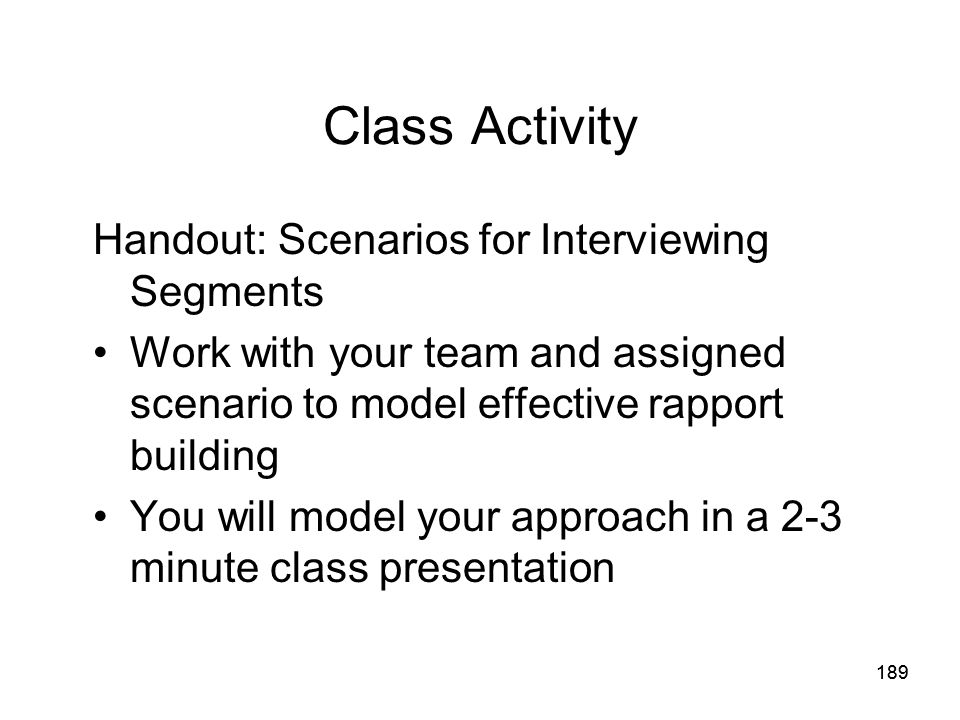 Class Activity Handout: Scenarios for Interviewing Segments