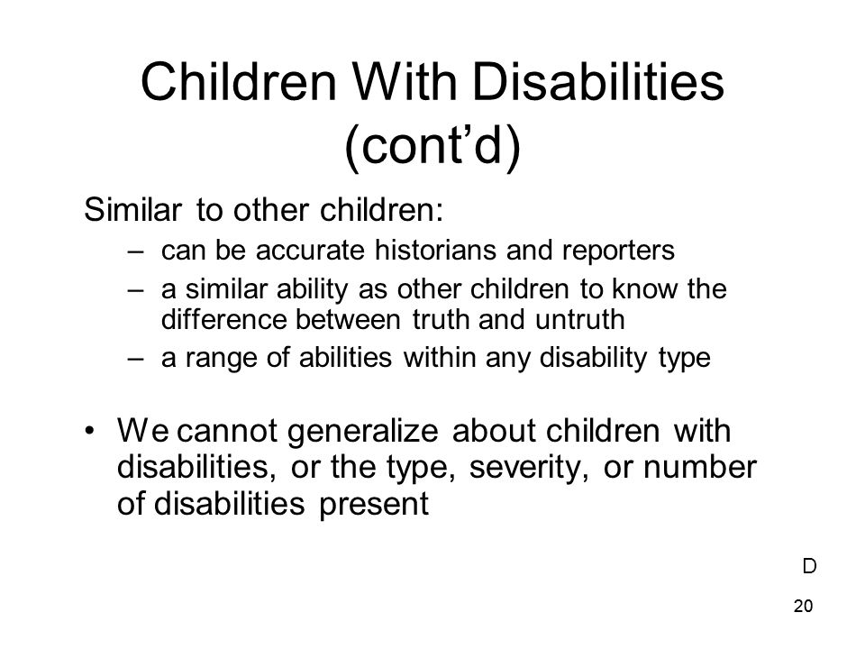 Children With Disabilities (cont'd)
