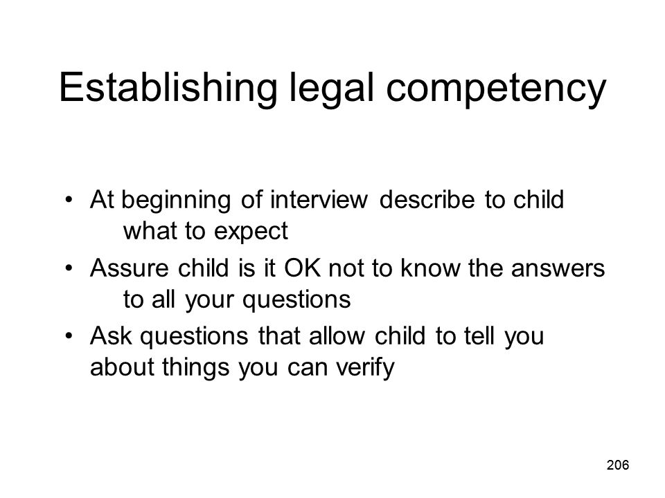 Establishing legal competency
