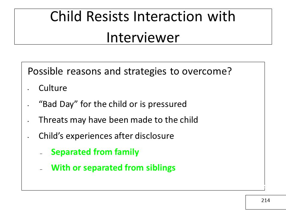 Child Resists Interaction with Interviewer