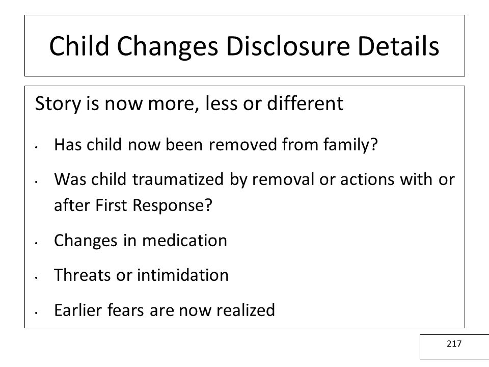 Child Changes Disclosure Details