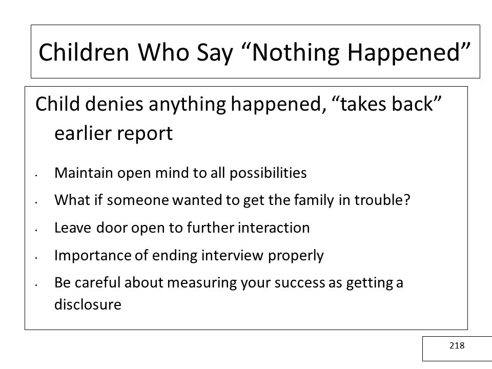 Children Who Say Nothing Happened