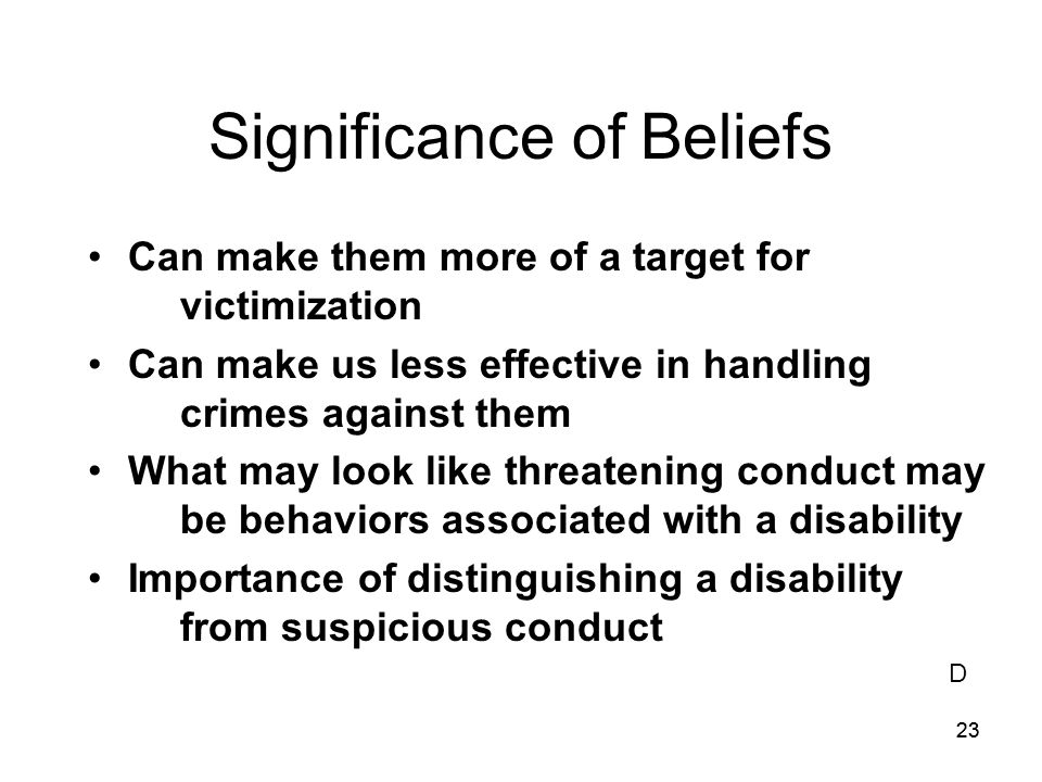 Significance of Beliefs