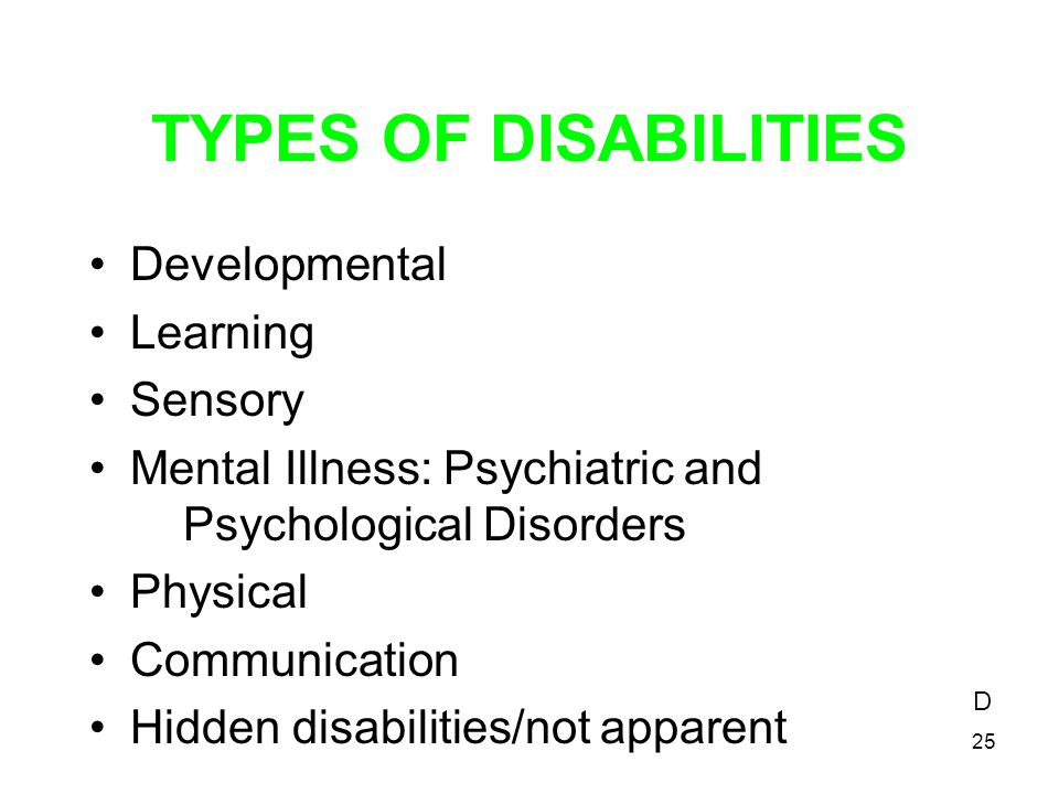 TYPES OF DISABILITIES Developmental Learning Sensory