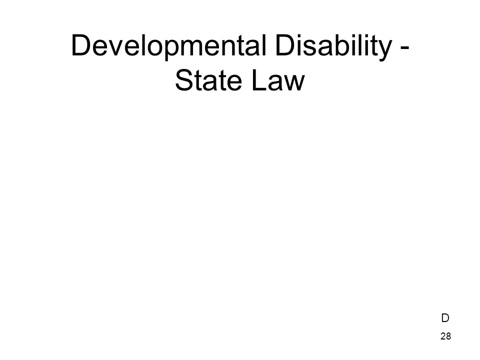 Developmental Disability - State Law