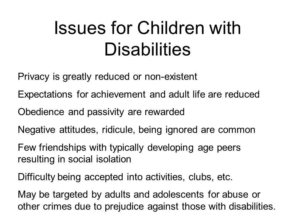 Issues for Children with Disabilities