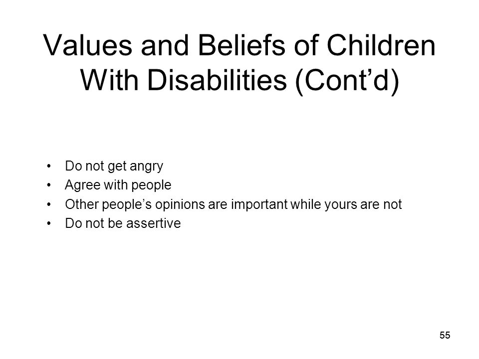 Values and Beliefs of Children With Disabilities (Cont'd)