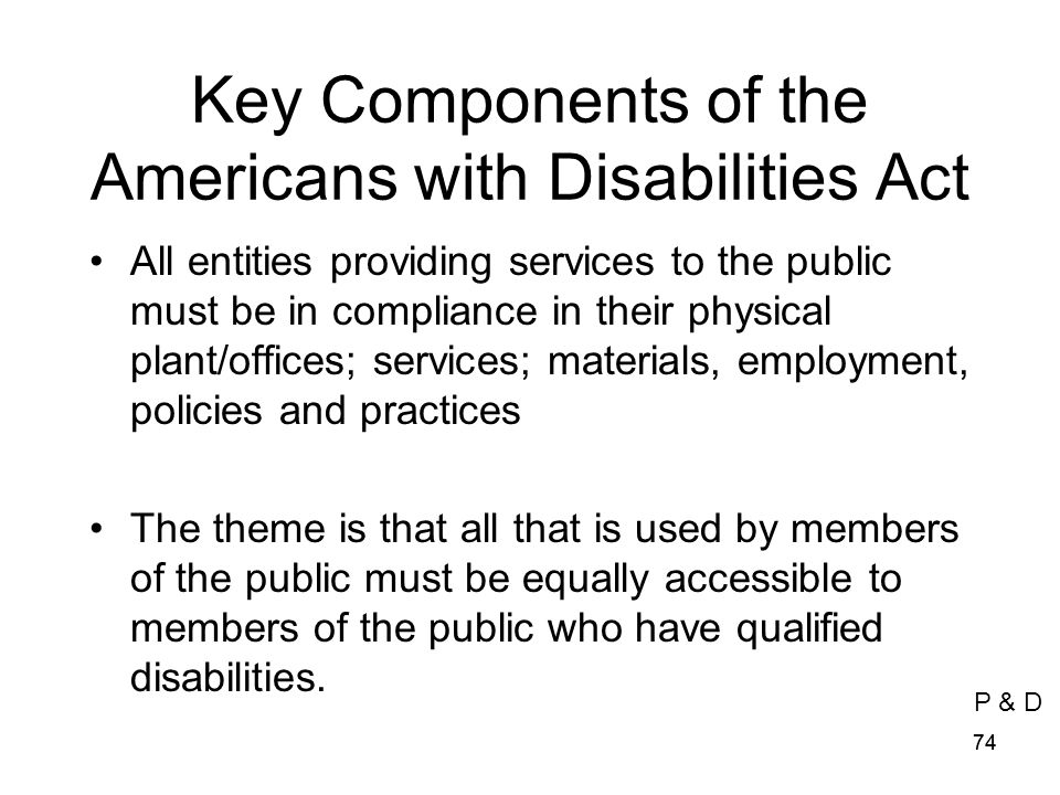 Key Components of the Americans with Disabilities Act
