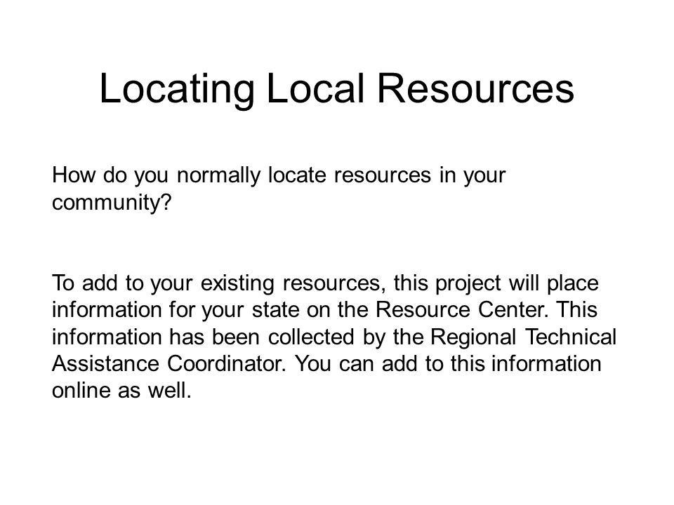 Locating Local Resources