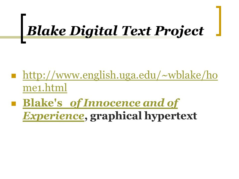 Blake Digital Text Project