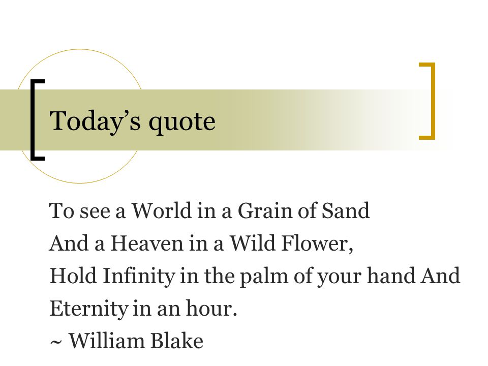 Today's quote To see a World in a Grain of Sand