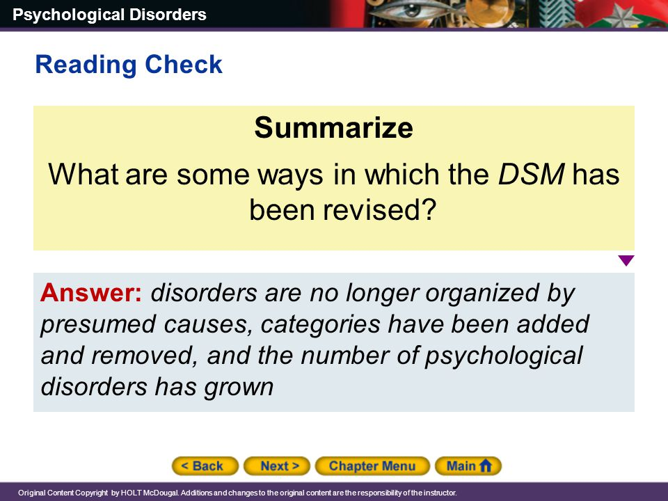 What are some ways in which the DSM has been revised