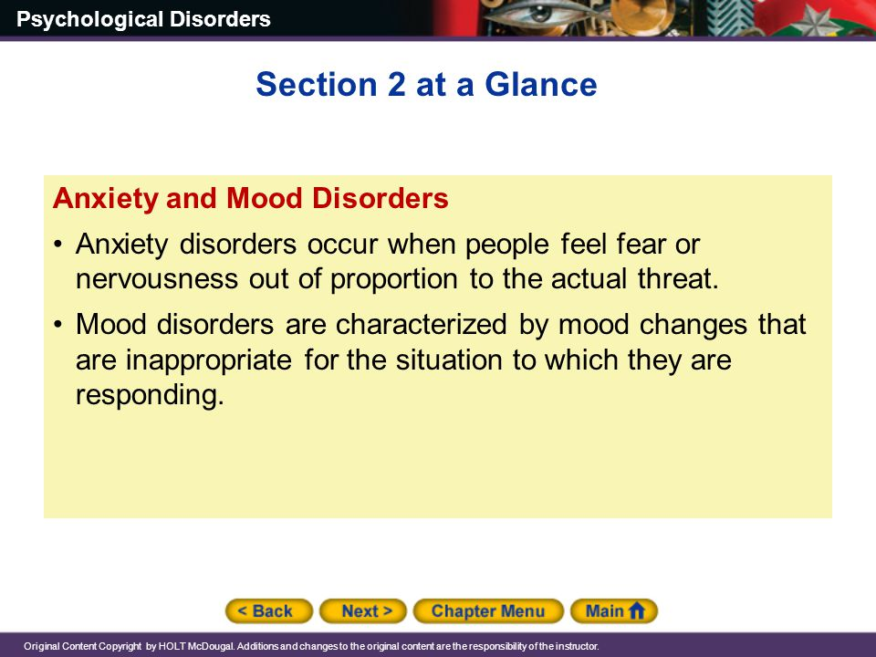 Section 2 at a Glance Anxiety and Mood Disorders