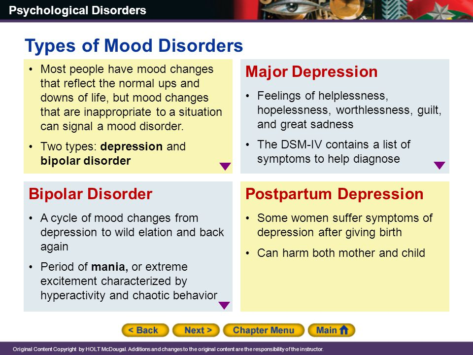 Types of Mood Disorders