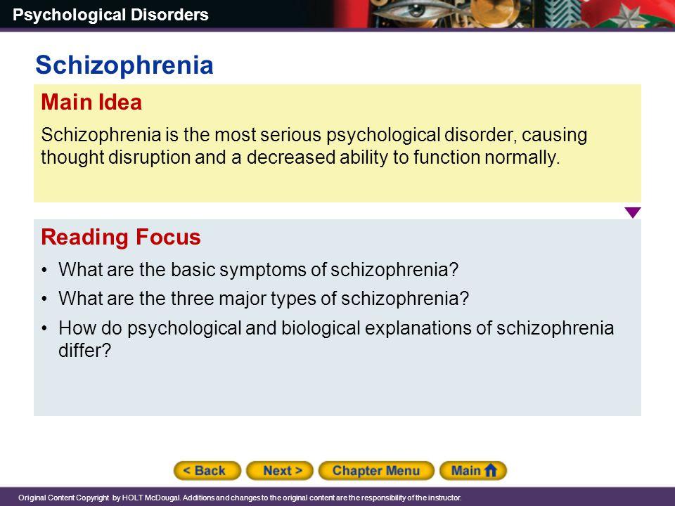 Schizophrenia Main Idea Reading Focus