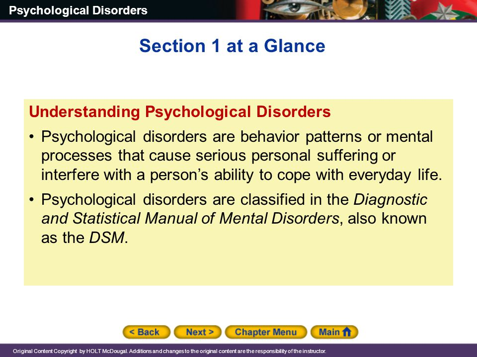 Section 1 at a Glance Understanding Psychological Disorders