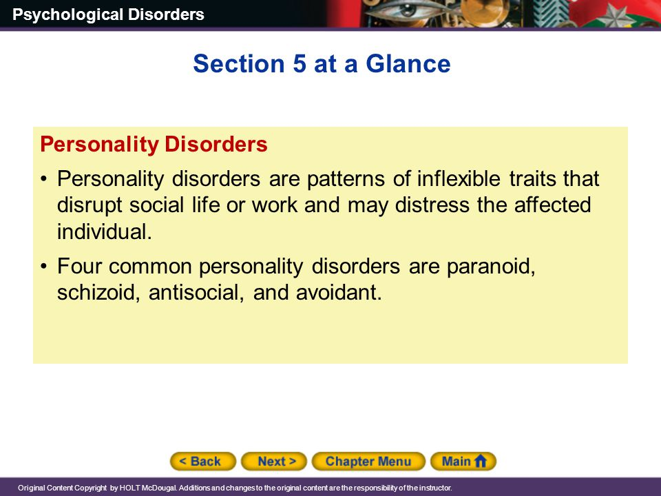 Section 5 at a Glance Personality Disorders