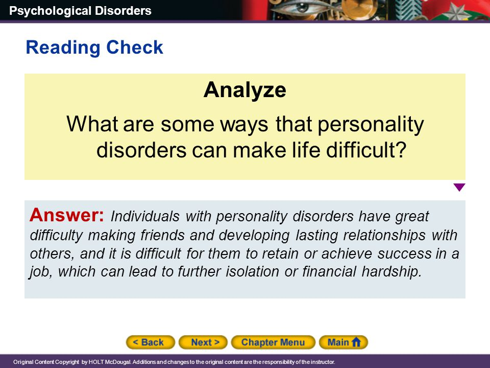 What are some ways that personality disorders can make life difficult