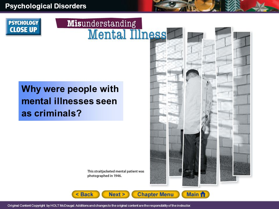 Why were people with mental illnesses seen as criminals