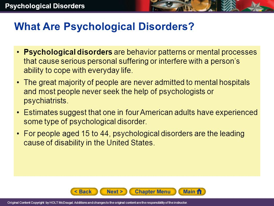 What Are Psychological Disorders